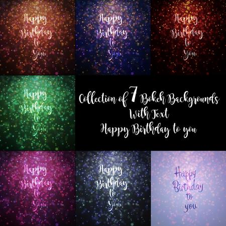 本文「あなたに幸せな誕生日」7 のカラフルなボケ背景のコレクション