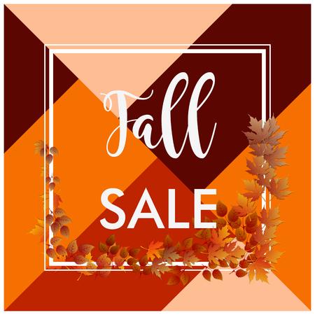 秋販売バナー正方形枠線と茶色の葉