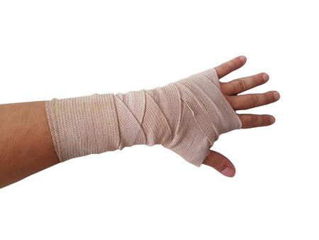 손 붕대 오른손 남성 격리 된 흰색 배경