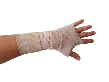 hand bandage right hand male isolated white background Imagens