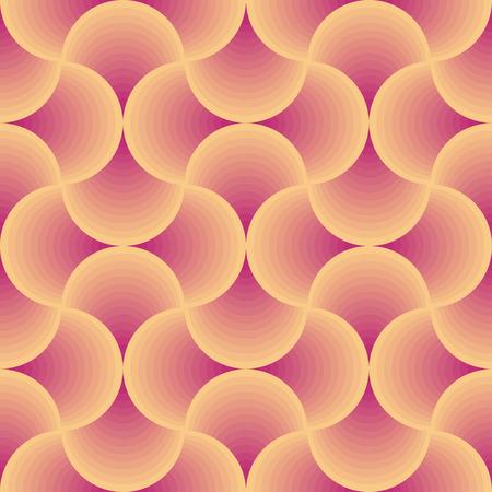 レトロな円形オレンジと赤のシームレスベクトルパターン