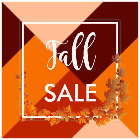 秋の販売バナー正方形のボーダーと茶色の葉  イラスト・ベクター素材