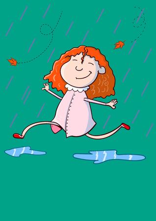 手描きの漫画スタイル幸せなかわいい女の子は、コピースペースで秋の雨の下を走っています