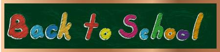 チョーク ベクター デザインの緑色の基板上の学校テキストに戻る