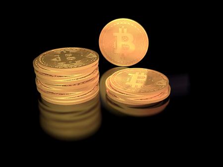 反射と黒の背景の黄金 bitcoin トークンのスタック 写真素材