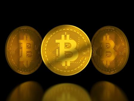 反射と黒の背景上の黄金 bitcoin トークン
