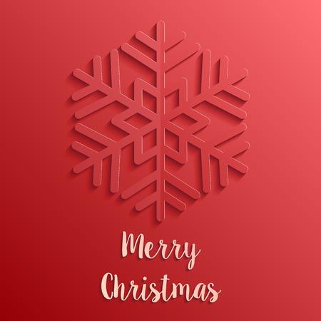 レッドペーパーカットスタイルメリークリスマスカード