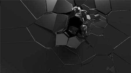砕かれた黒の表面の 3d レンダリングを抽象化します。破壊の壁。ベクトル形式