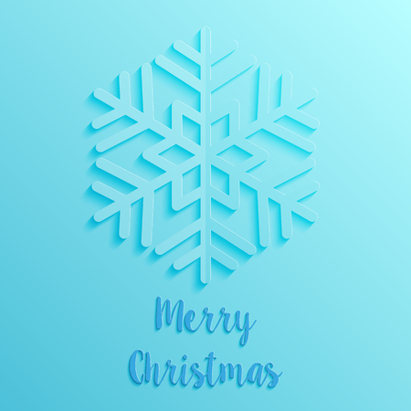 blue paper cut style merry christmas card