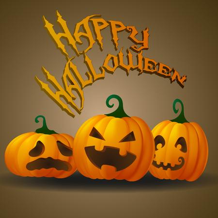 Happy halloween card with funny jack o lanterns