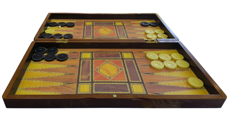 old wooden backgammon table isolated on white background Stock Photo - 88608438