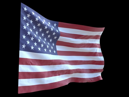 風の黒の背景3d イラストで手を振ってアメリカの国旗 写真素材