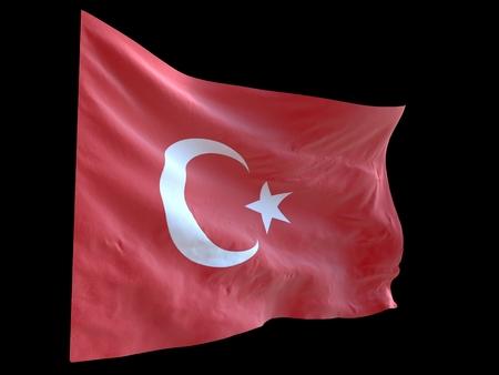 風の黒の背景3d イラストで振るトルコ国旗