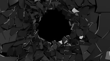 割れた黒い表面の抽象的な3d レンダリング。破壊した壁