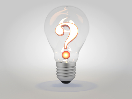 点灯した電球の疑問符アイデアのコンセプト3D イラストレーション 写真素材