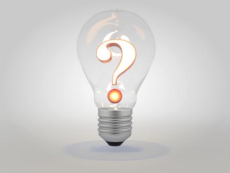 Question mark with lit light bulb idea concept 3D illustration Reklamní fotografie