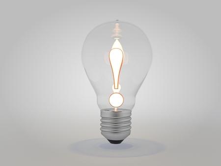 点灯している電球のアイデア コンセプト 3 D イラストの感嘆符