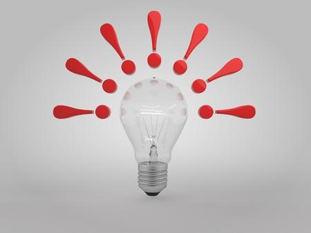 lit 電球アイデアコンセプト3D イラストレーション付き感嘆符
