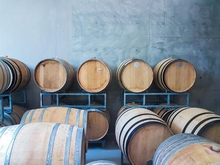 many wine barrels in a cellar 写真素材