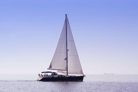 sailing boat: Sailing boat vacation. Aegean sea, near Skiathos island. Greece