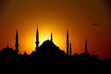 siluet: Suleymaniye at Sunset Stock Photo