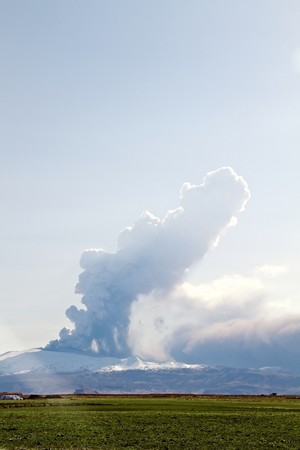The Eyjafjallajokull glacier and volcano in southern Iceland. The volcano erupted in March 2010. The ash cloud from the eruption has caused cancellation of flights all over the world and for some time closed the entire European airspace. photo