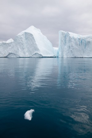 greenland: Icebergs in the famous icefjord beside the city of Ilulissat in Greenland.  Stock Photo