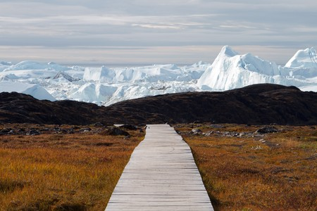 icefjord: Easy hiking route to the famous Kangia glacier near Ilulissat in Greenland