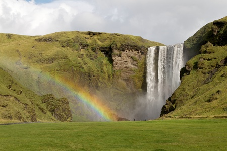The famous and beautiful Skogafoss waterfall in south Iceland photo