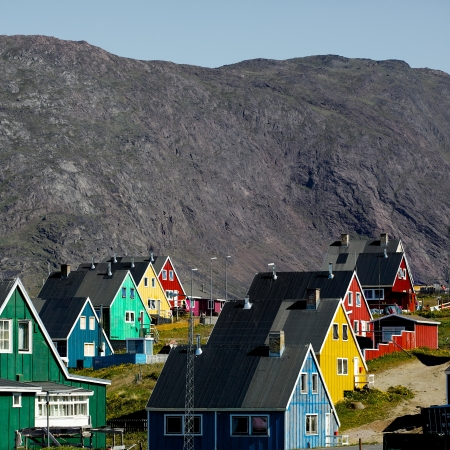 Colourful homes in the city Narsaq in South Greenland