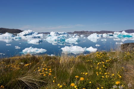 greenland: Beautiful view of icebergs floating by Narsaq city in South Greenland Stock Photo