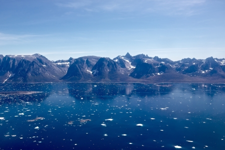icefjord: View of South Greenland Icefjord as seen from a helicopter Stock Photo
