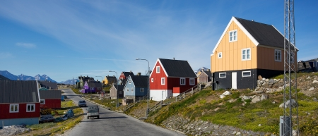 Colorful buildings in Nanortalik city in South Greenland   Editorial