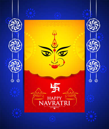 Creative background of Happy Navratri/ Durga Puja celebration with Face of Goddess Durga Devi and decorative elements Isolated on blue festive background. Vector Illustration.