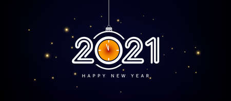 2021 Happy New Year Countdown Concept Banner with creative text on dark background. Greeting Card, poster, banner for Merry Christmas and Happy New Year Celebration Illusztráció