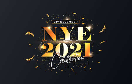 NYE 2021, Happy New Year 2021, shiny text with light, golden confetti and particles burst on black background. Illusztráció