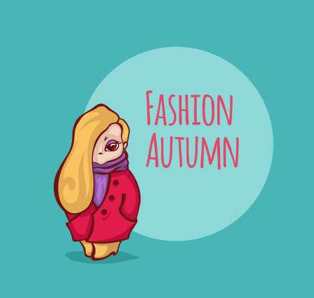 blond: Vector blond girl. Vector character. Cartoon girl in autumn coat.