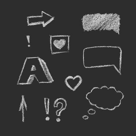 pastel like: Vector design elements on dark background. Crayon, pastel, chalk, charcoal texture. Sign, symbols, arrows, speech bubbles.