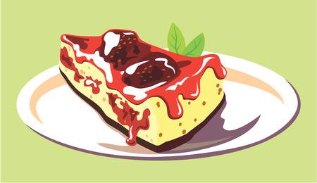 custard: piece of cake with cream and fruit Illustration