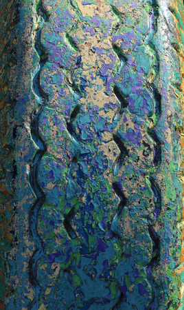 Old rubber tires, painted multicolored paint photo