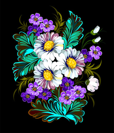 bouquet from camomiles and violets Vector