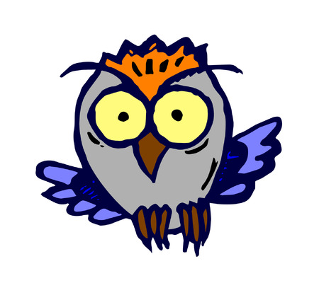 flying owl caricature Vector