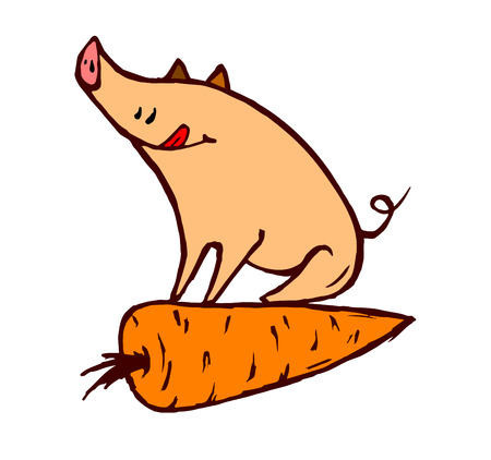 piglet: piglet sitting astride on a carrot