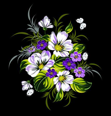 single flower: flower blossom Illustration