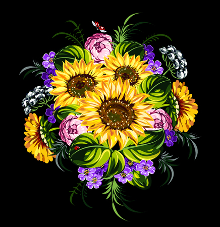 wildflowers: bouquet of sunflowers and wildflowers Illustration