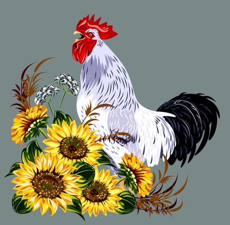 springtime: cock in a thicket of flowers