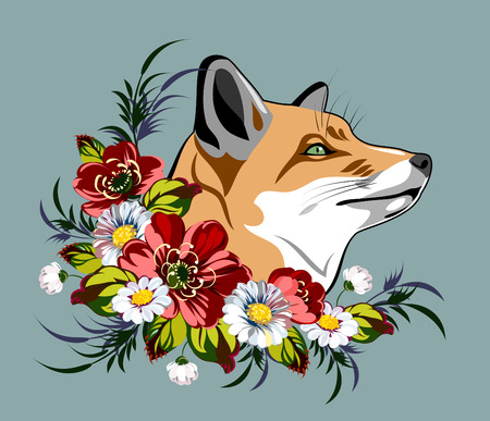 thicket: fox sitting in a thicket of poppies and daisies