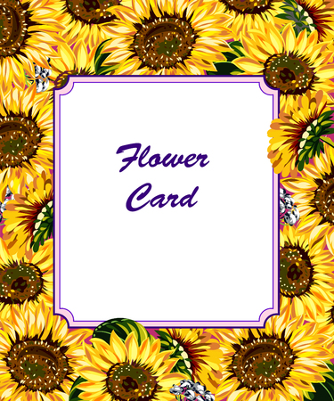 lowers: Postcard with beautiful flowers sunflowers Illustration