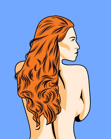 naked girl: profile red-haired naked girl