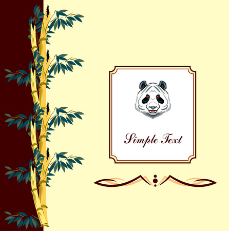 one panda: background with bamboo branches and panda Illustration
